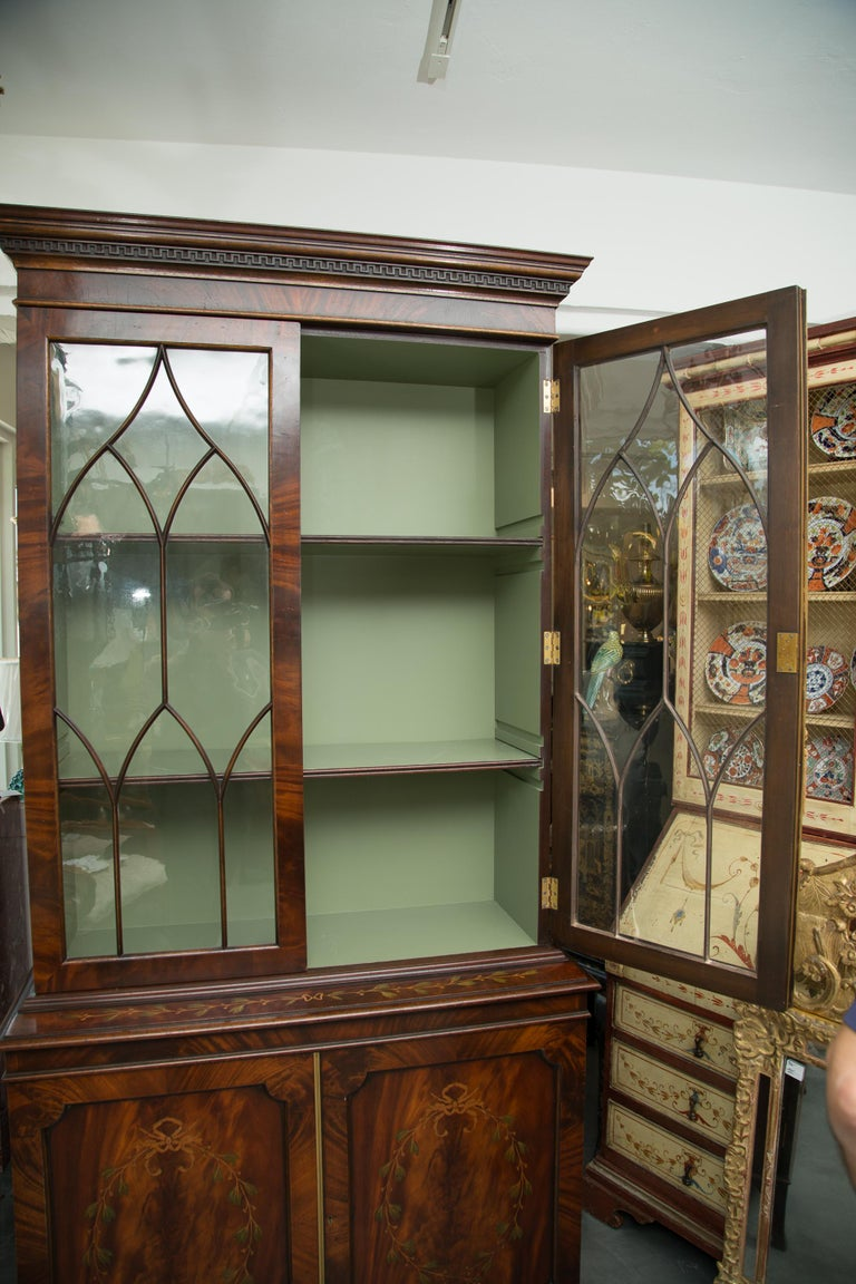 George III Pair of 19th Century Georgian Style Mahogany Bookcases For Sale