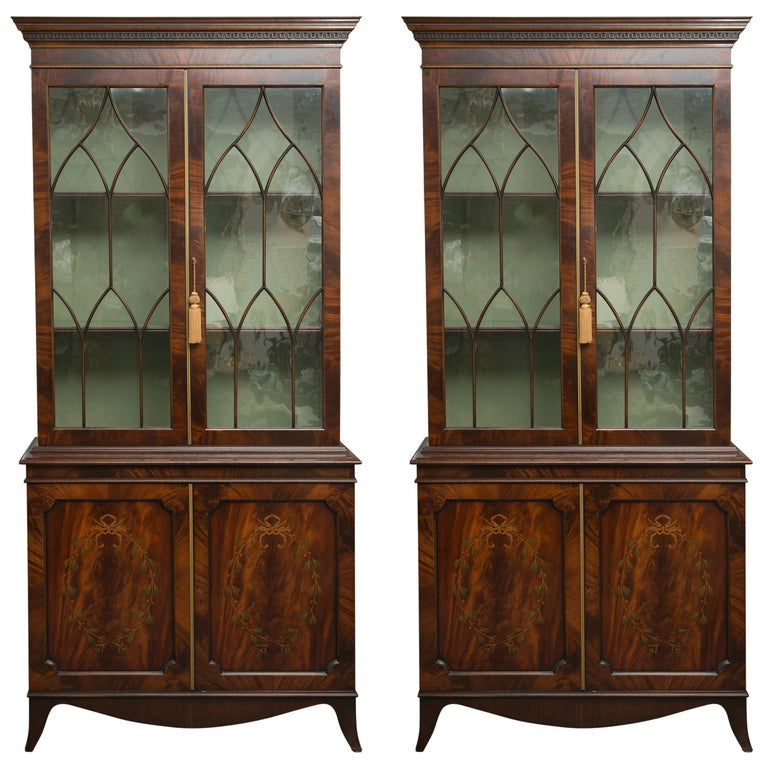 Pair of 19th Century Georgian Style Mahogany Bookcases For Sale