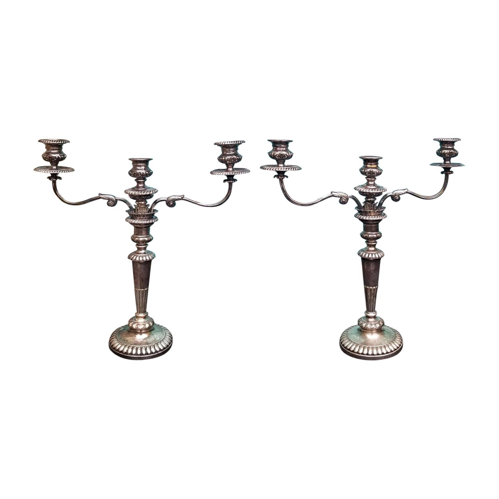 Pair of 19th Century Georgian Style Sheffield Candelabras, Family Crest Marking