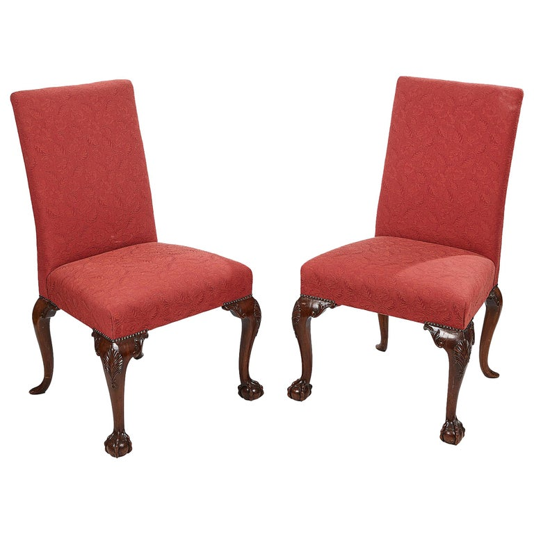 Pair of 19th Century Georgian Upholstered Side Chairs with Ball and Claw Feet For Sale