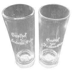 Pair of 19th Century German Beer Glasses with Enamel