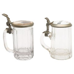 Pair of 19th Century German Glass Beer Stein