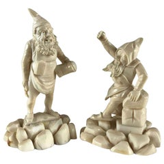Pair of 19th Century German Gnomes Hand Carved Bone Gnome Figures