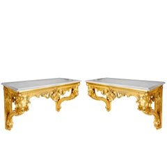 Pair of 19th Century Gilded Console Tables