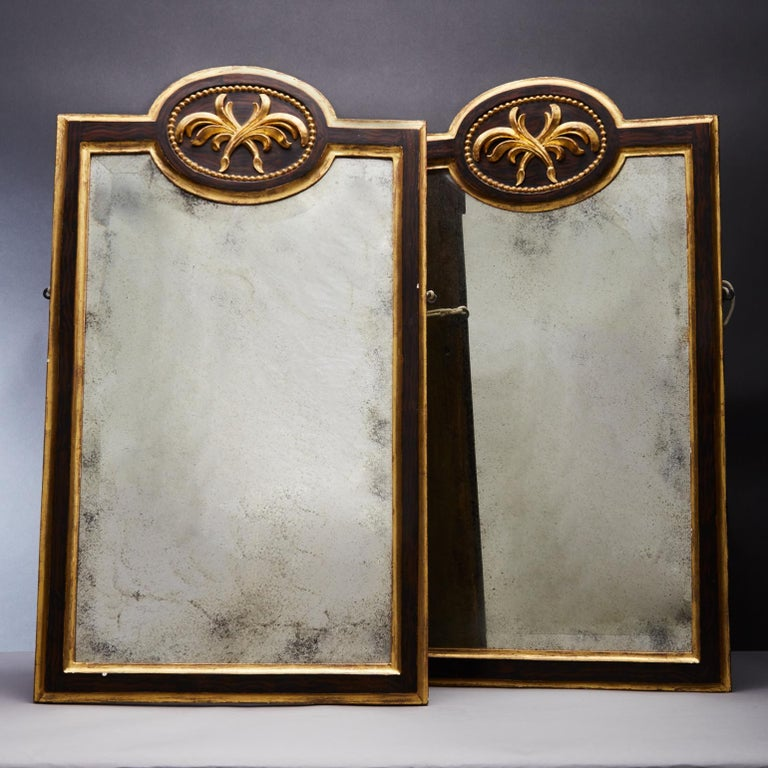 The pair antique gilt and ebonized mirrors with a central cartouche above of a leaf motif. The frames are made of carved wood and gesso a thin layer of gold leaf is then applied over the surface. Set into the frame the aged oxidized mirror gives a