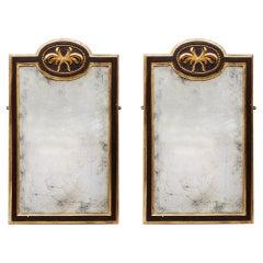Pair of 19th Century Gilt and Ebonized Mirrors