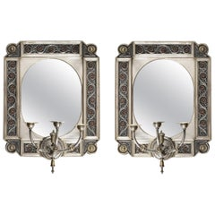 Pair of 19th Century Gilt and Silvered Brass Girandole Mirrors