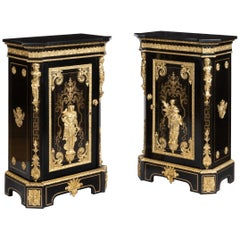 Pair of 19th Century Gilt Bronze and Ebonized Cabinets by Befort of Paris