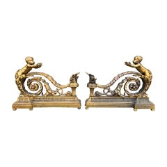 Pair of 19th Century Gilt Bronze Chenets by Bouhon, Signed