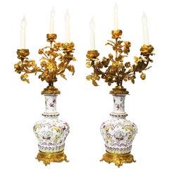 Pair of 19th Century Gilt-Bronze & Faience Porcelain Table Lamp Candelabras
