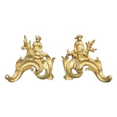 Pair of 19th Century Gilt Bronze Fireplace Chenets with Figures