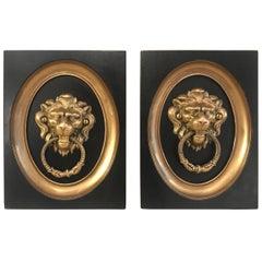 Pair of 19th Century Gilt Bronze Framed Lion Door Knockers