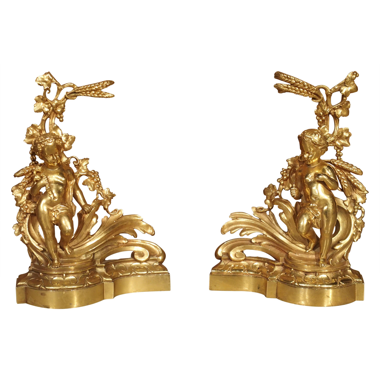Pair of 19th Century Gilt Bronze French Chenets