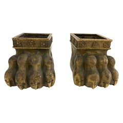 Pair of 19th Century Gilt Bronze Lion Paw Furniture Feet