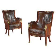 Pair of 19th Century Gilt Bronze-Mounted Moroccan Leathered Armchairs