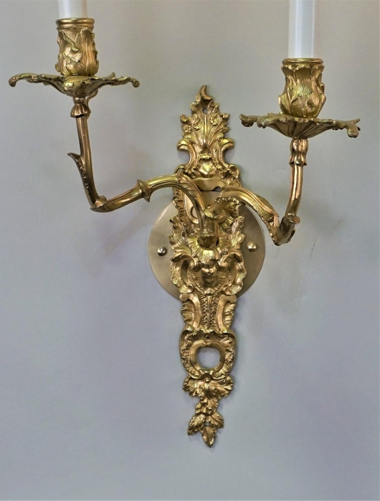 French Pair of 19th Century Gilt Bronze Wall Sconces For Sale