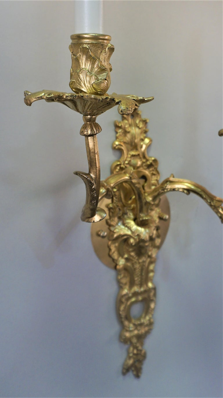 Pair of 19th Century Gilt Bronze Wall Sconces For Sale 1