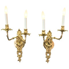 Pair of 19th Century Gilt Bronze Wall Sconces
