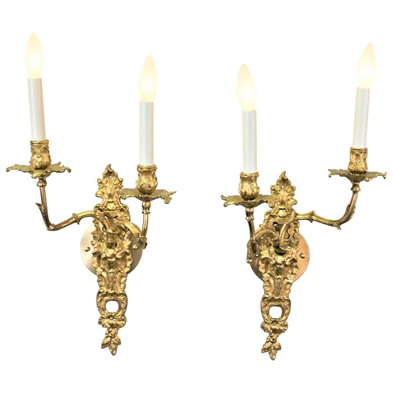 Pair of 19th Century Gilt Bronze Wall Sconces For Sale
