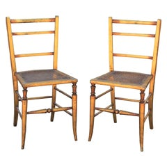 Pair of 19th Century Gilt Cane Side Ladder Back Chairs