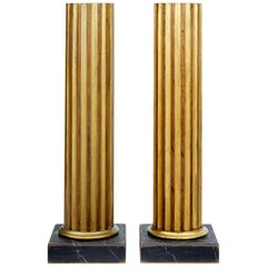 Pair of 19th Century Gilt Column Pedestals