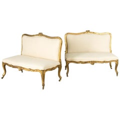 Pair of 19th Century Gilt/Upholstered Banquettes