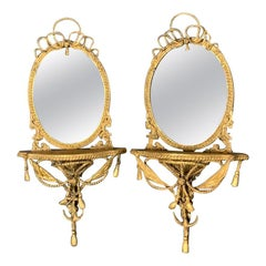 Pair of 19th Century Gilt Wall Bracket Mirrors with Nautical Style