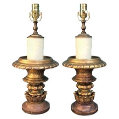 Pair of 19th Century Giltwood and Gesso Urns as Lamps