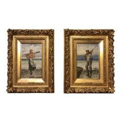 Pair of 19th Century Giltwood Oil Paintings by L. Pernett