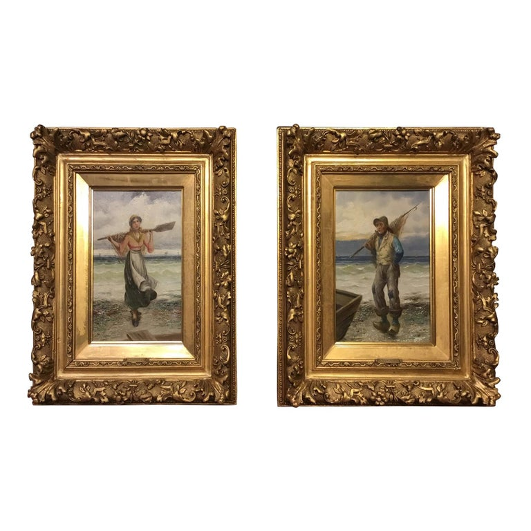 Pair of 19th Century Giltwood Oil Paintings by L. Pernett  For Sale