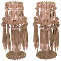 Pair of 19th Century Glass Lustre Candlesticks