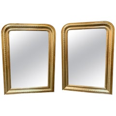 Pair of 19th Century Gold Louis Philippe Mirror with X-Pattern