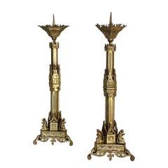 Pair of 19th Century Gothic Bronze Candlesticks