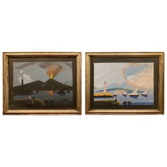 Pair of 19th Century Gouache Paintings of Vesuvius, Day and Night