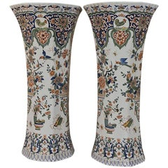 Pair of 19th Century Grand Hand-Painted Delft Vases