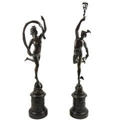 Pair of 19th Century Grand Tour Bronze Figures of Mercury and Fortuna