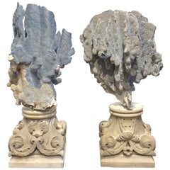 Pair of 19th Century Grand Tour Specimen Blue Coral on Carrera Marble Pedestals