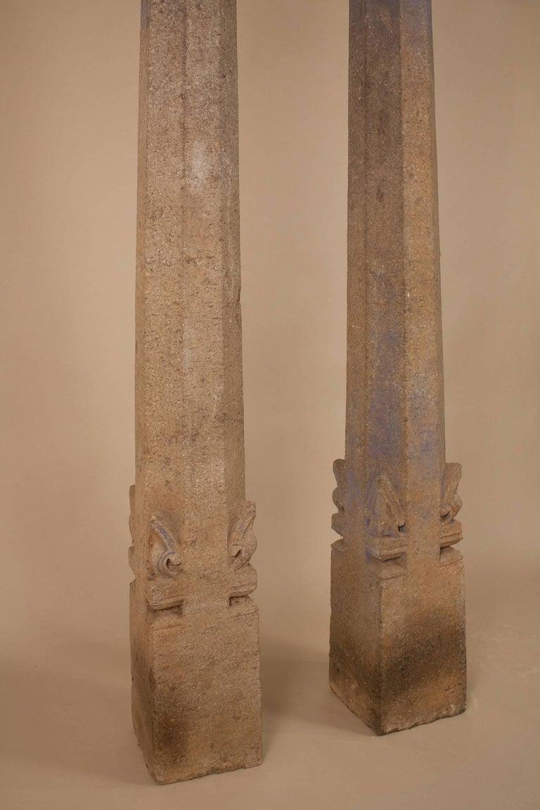 Anglo Raj Pair of 19th Century Granite Pillars For Sale