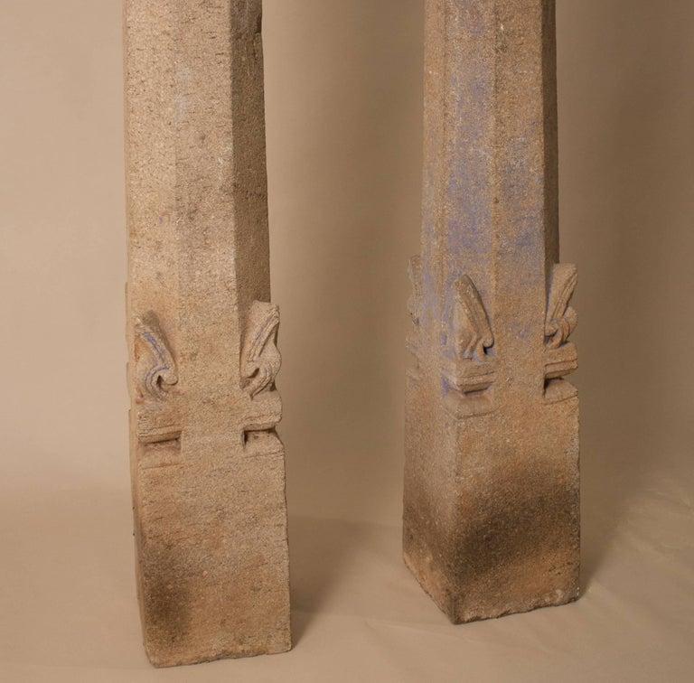 Indian Pair of 19th Century Granite Pillars For Sale