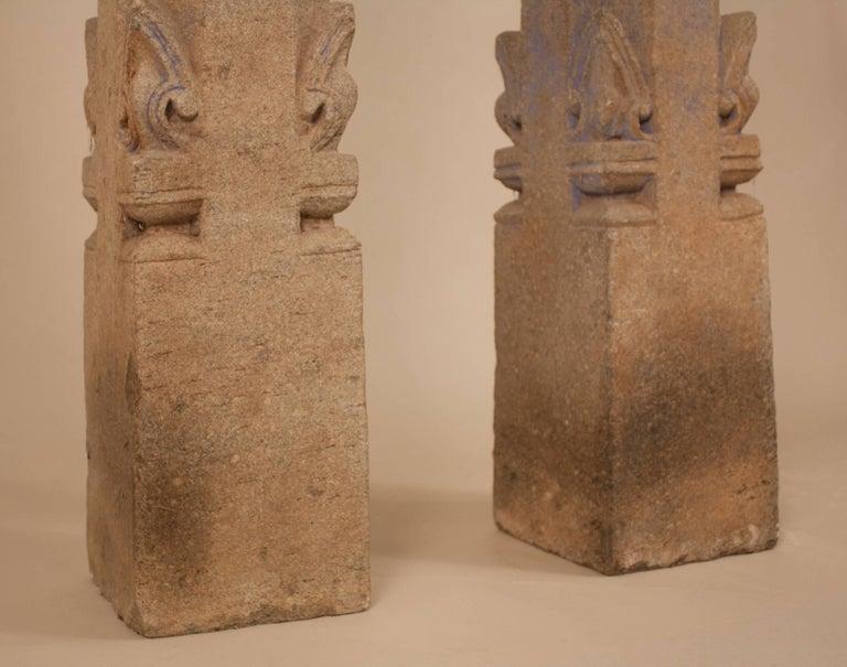 Carved Pair of 19th Century Granite Pillars For Sale