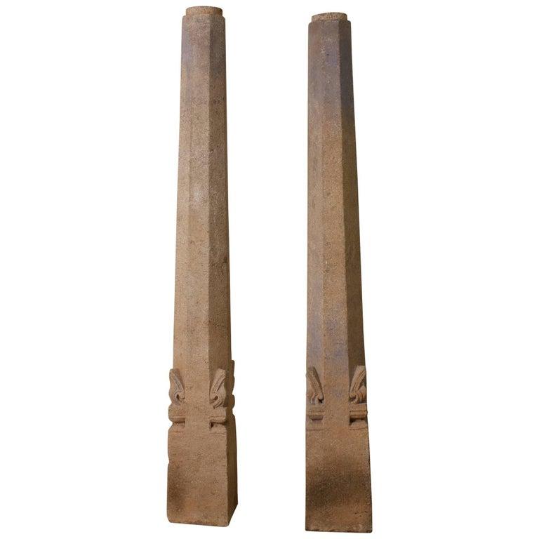 Pair of 19th Century Granite Pillars For Sale