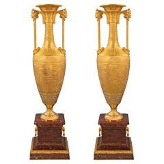Pair of 19th Century Greco-Egyptian St. Ormolu Loutrophoros Vases