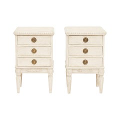 Pair of 19th Century Gustavian Style Pine Painted Nightstands or End Tables