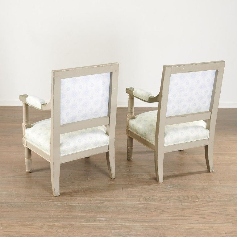 Louis XVI Pair of 19th Century Gustavian Swedish Finely Painted Decorated Armchairs For Sale