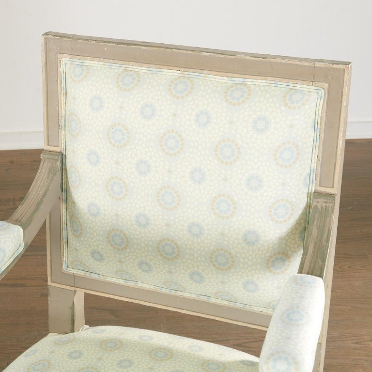 Wood Pair of 19th Century Gustavian Swedish Finely Painted Decorated Armchairs For Sale