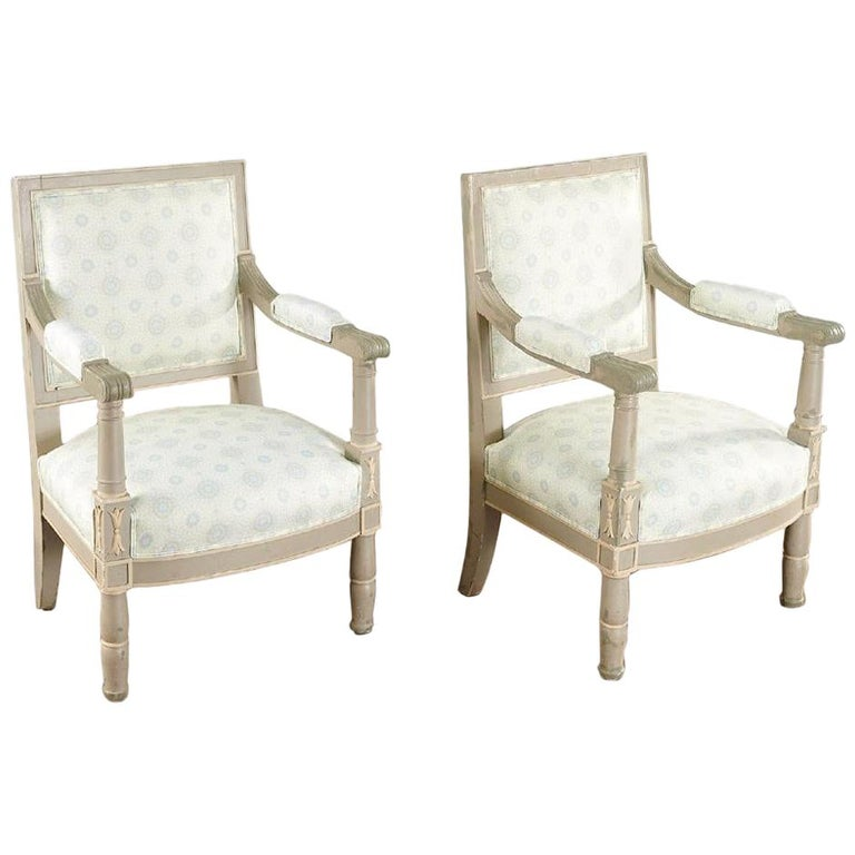 Pair of 19th Century Gustavian Swedish Finely Painted Decorated Armchairs For Sale