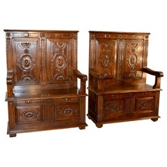 Pair of 19th Century Hall Benches
