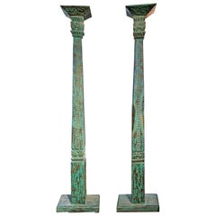 Pair of 19th Century Hand Carved Blue and Green Painted Indonesian Teak Columns