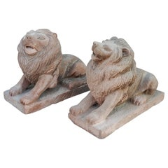 Pair of 19th Century Hand Carved Brownstone Garden Lions Statues