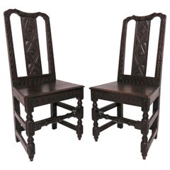 Pair of 19th Century Hand Carved Flemish Side Chairs